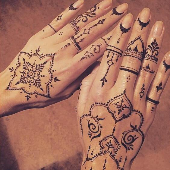 Creative heena designs on back hand side