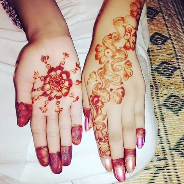 simple front hand mehndi design for kids