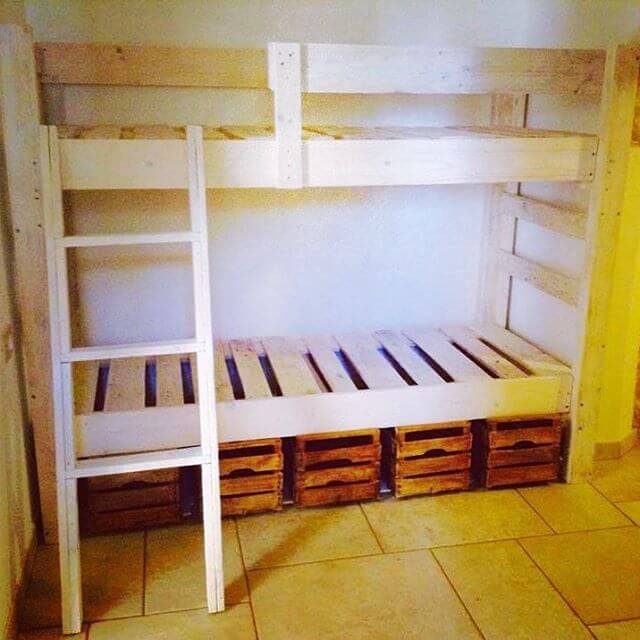 kids pallet bed with stairs
