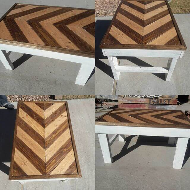 Large reclaimed pallet table with storage