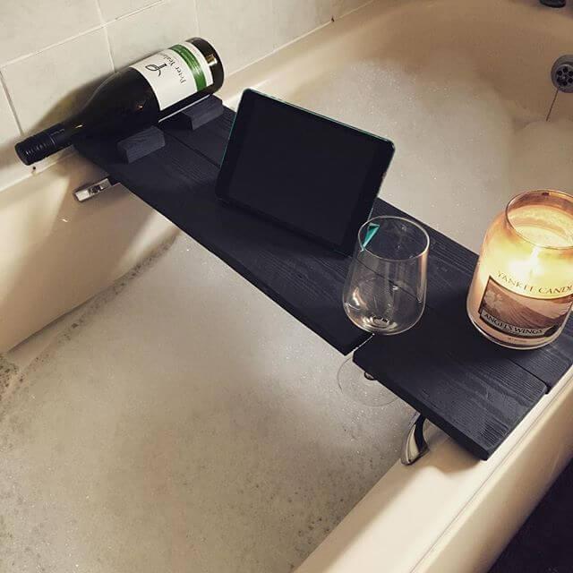 beautiful black pallet bathtub tray
