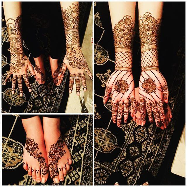 full hand mehndi design for bride