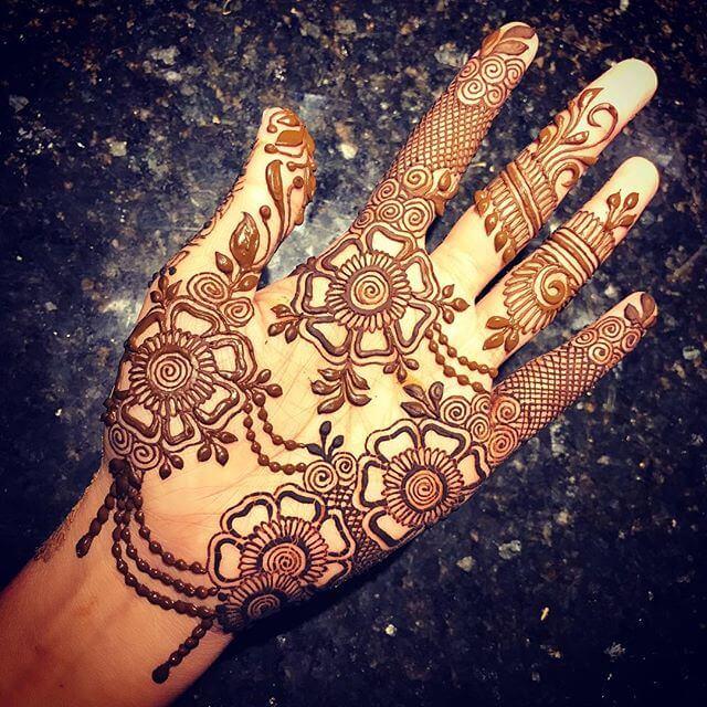 full hand floral mehndi design