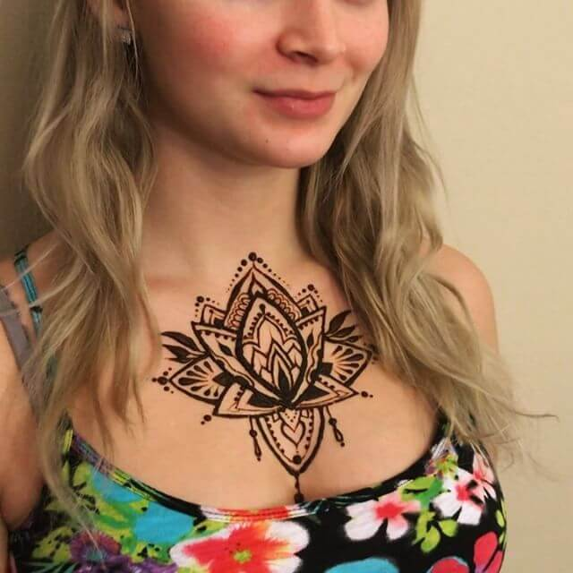beautiful henna art on your neck