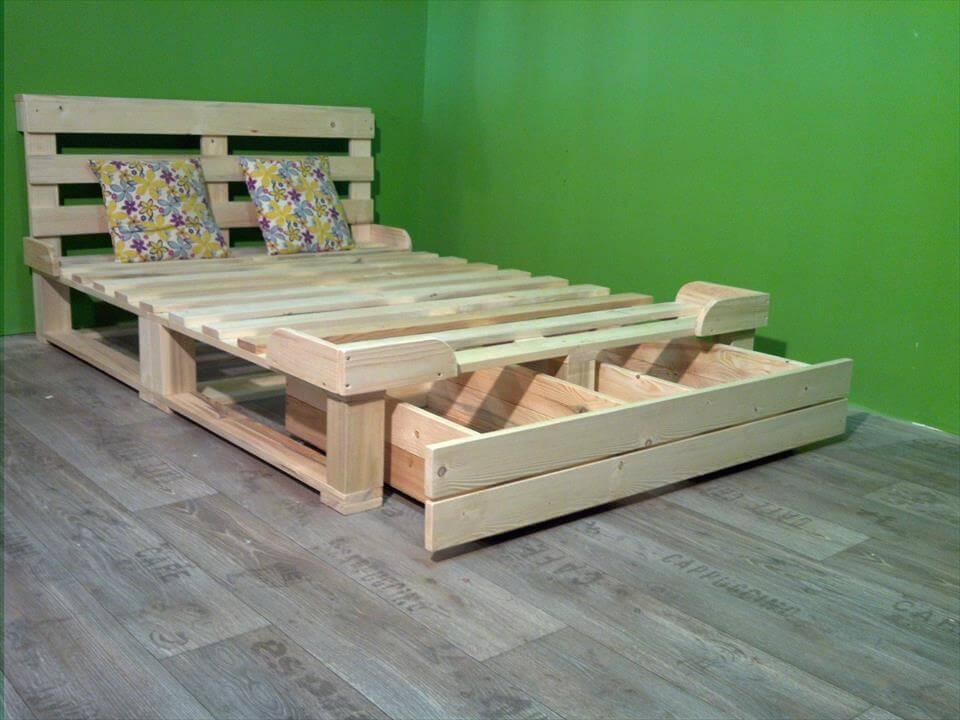 10 Easy DIY Wooden Pallets Bed Frame Ideas For Home - Sensod