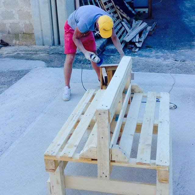 semi-furnished outdoor pallet sofa