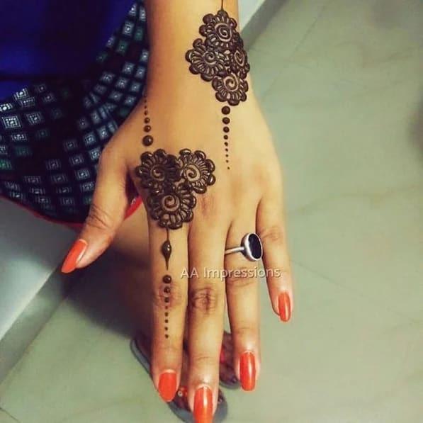 simple Mehndi Art on Back Hand on new year