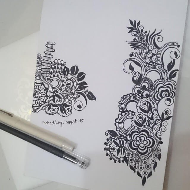 Drwaing mehndi designs on paper