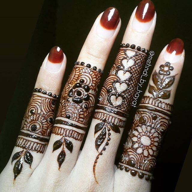 Creativity in finger mehndi designs
