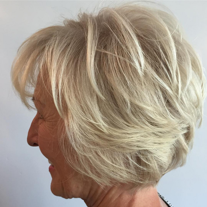 Brown Blonde Layered Short Hairstyles for Older Women