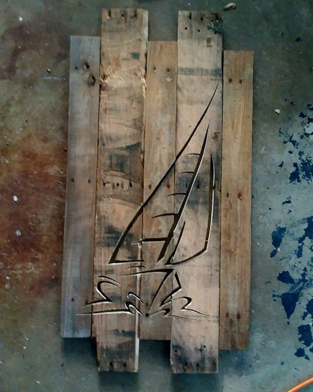 Pallet Boat Shelf art