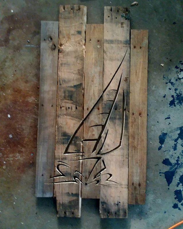 Pallet Boat Shelf art