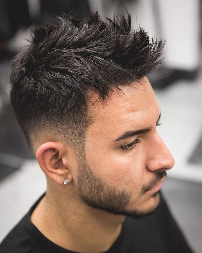Long Fohawk + Low Bald Fade + Beard Fade Medium Length Men's Hairstyles
