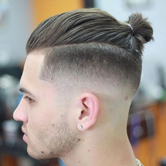 Man bun hairstyles left pose