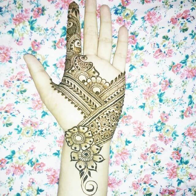 Jeweled Bridal Front hand Henna Designs