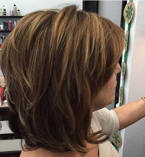 Highlighted Bob Ear Length Hairstyles for Women Over 50s