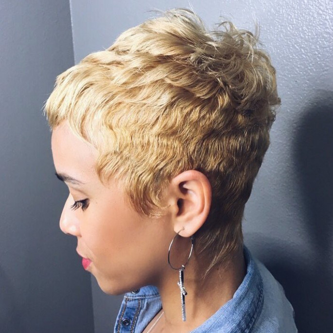 Short Black Hairstyle with Honey Highlights for Black Women