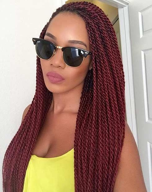 Gorgeous Burgundy Twist Out Hair Crochet Braid Hairstyles for Women
