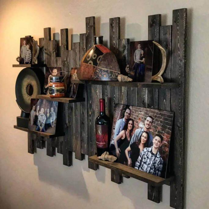 Pallet Wall Shelves covered frame ideas