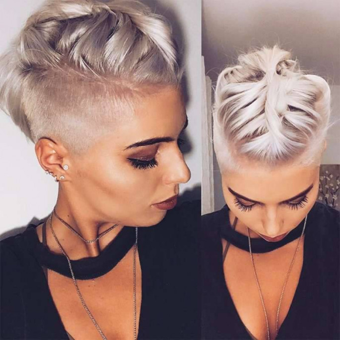 Side pose short women hairstyles for fine hair