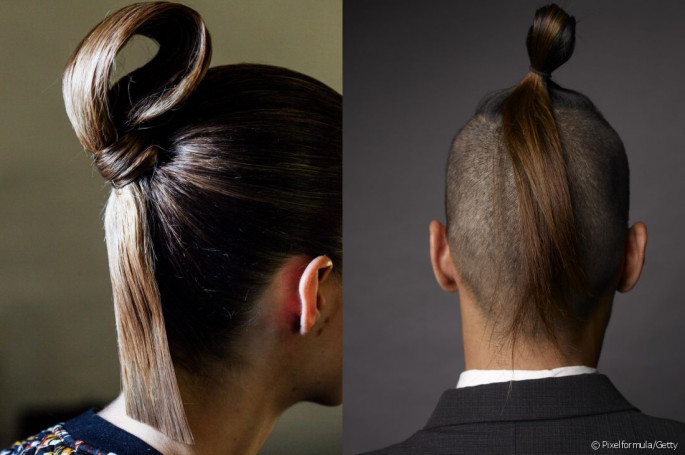 Samurai Top Knot Bun Hairstyles For Short Hair-Medium Length Hair