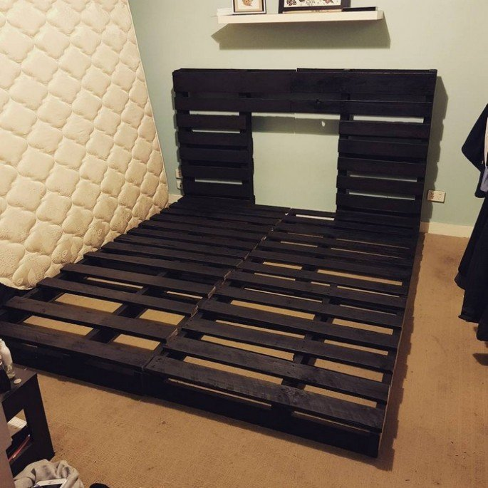 DIY Black Wood pallet bed frame ideas