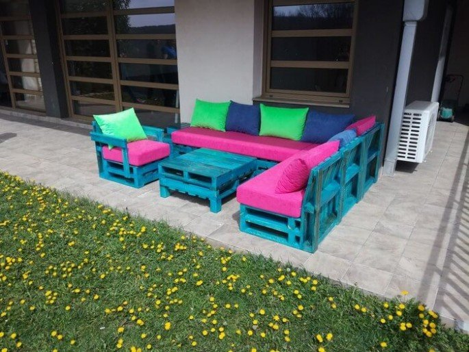 Outdoor pallet couch Full Set ideas