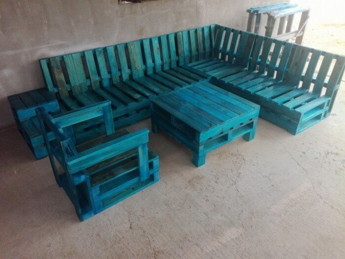 DIY Outdoor pallet couch Full Set ideas