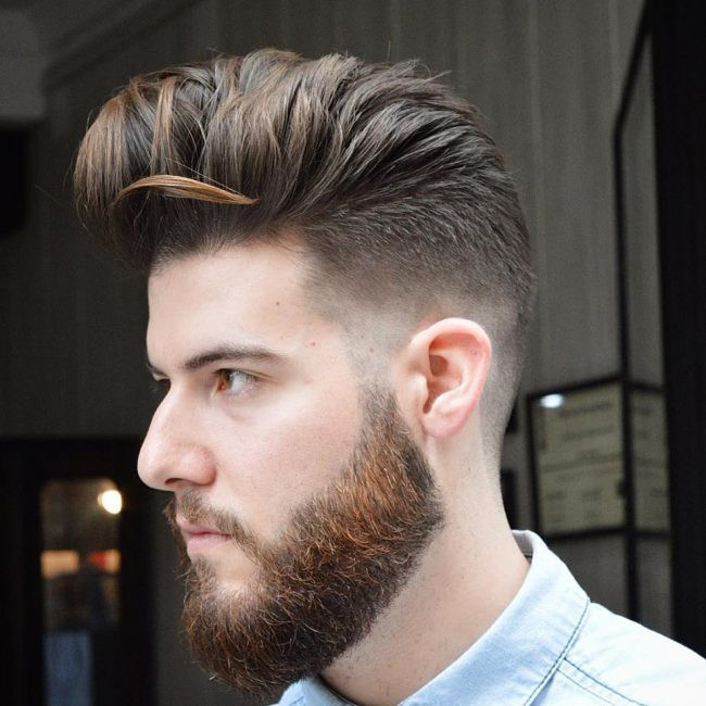 Cool Waved Pompadour Medium Length Hairstyles for Men