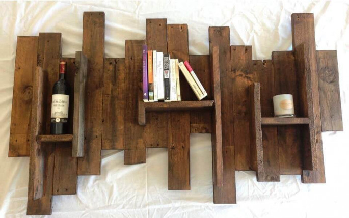 Pallet bathroom Wall Shelve with Towel holder