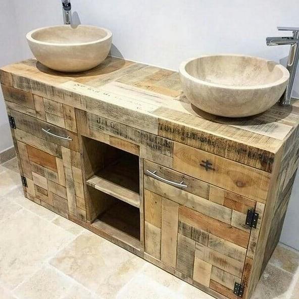 Pallet bathroom basin cabinet