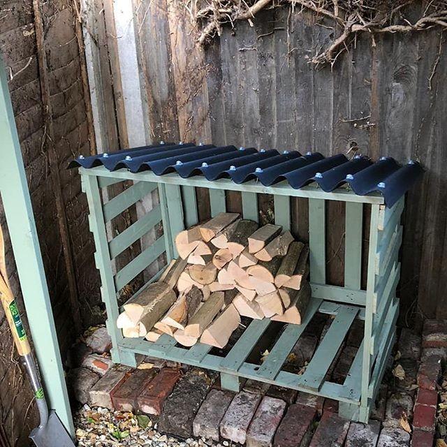 Pallet shed for wood storage