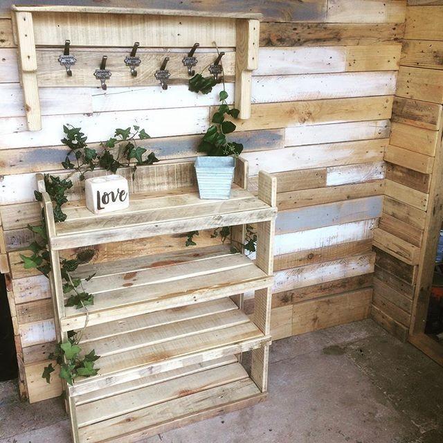 Pallet planting desk with shelf