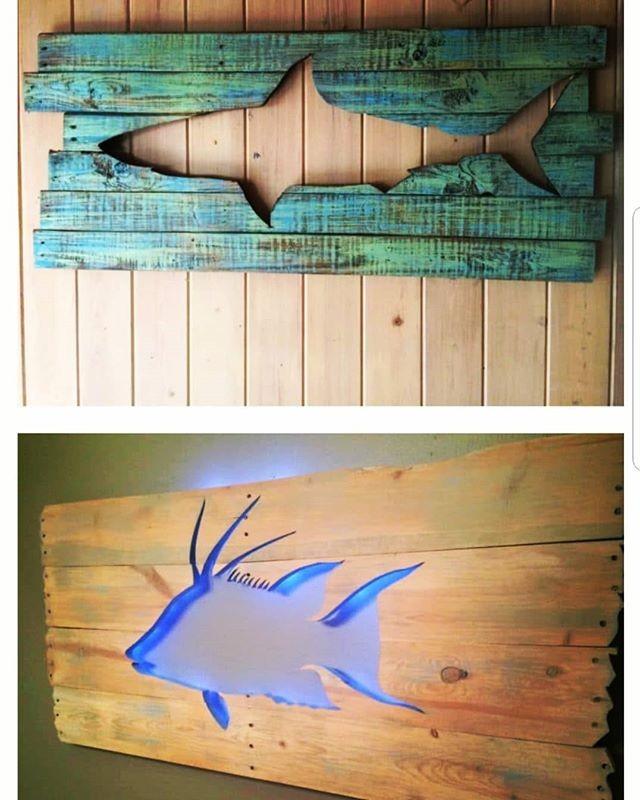 Pallet Glowing Fish Shelf Art