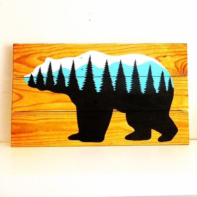 Pallet Bear Shelf Art