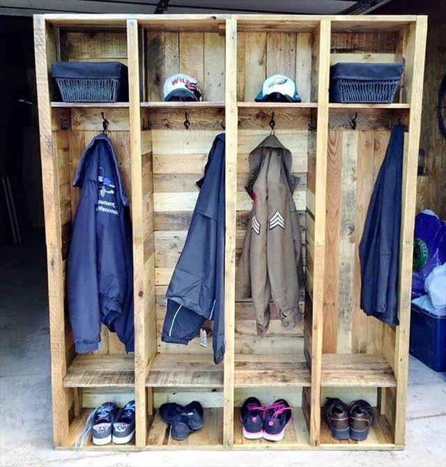 Pallet wall wardrobe