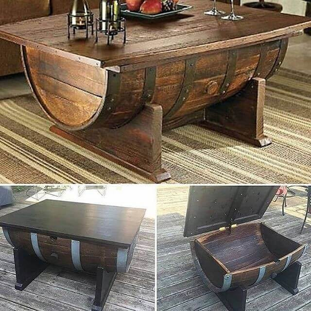 Pallet barrel coffee table
