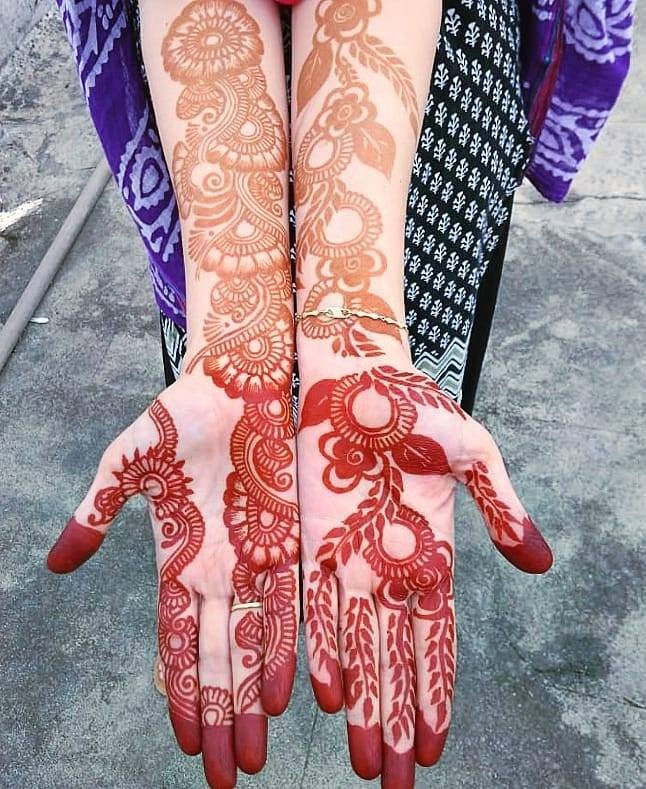 fronthand with arm mehndi design ideas