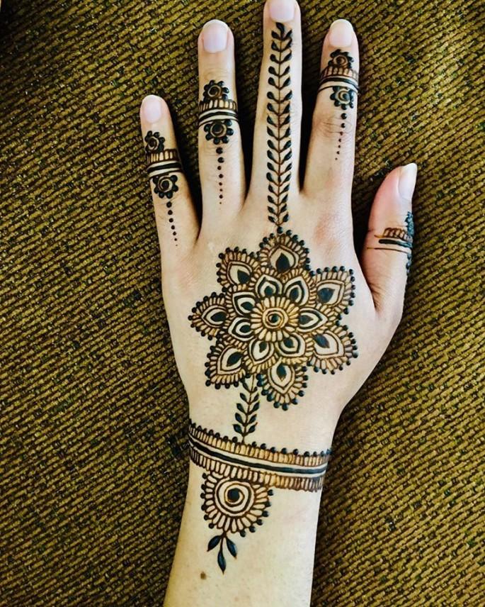 simple women backhand mehndi design