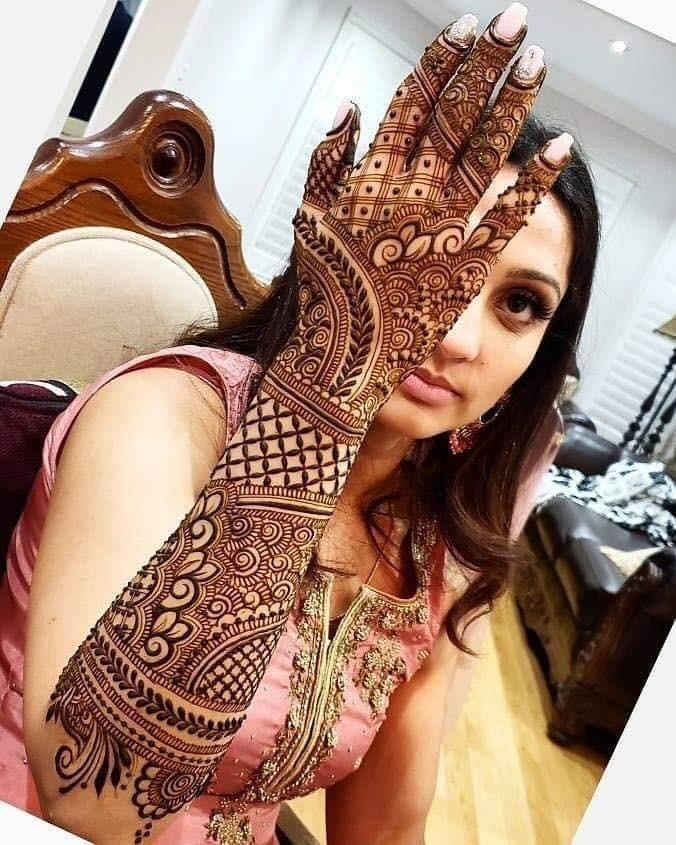easy full arm bridal mehndi designs