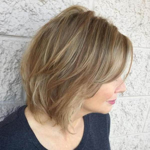 Short Textured Voluminous Bob Hairstyles for Women Over 40s