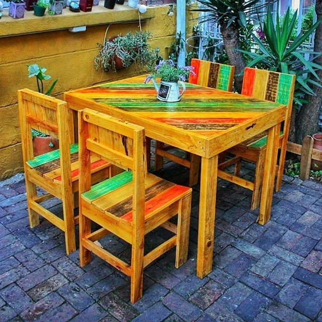 Pallet table chair furniture ideas