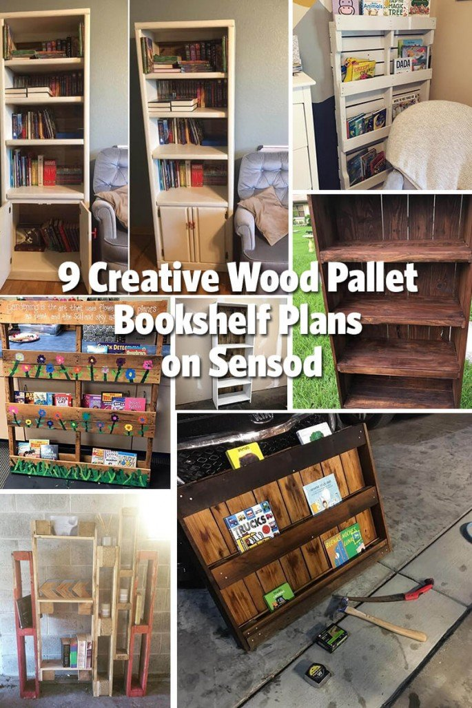 9 Creative Wood Pallet Bookshelf Plans on Sensod