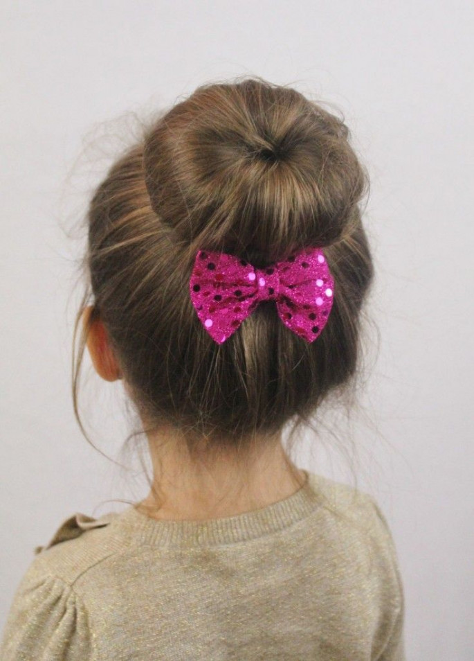 Bun with a Bow Hairstyles for Little Girls
