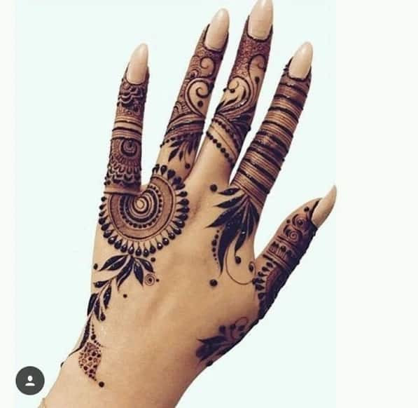 Best Mehndi Art on Fingers on new year