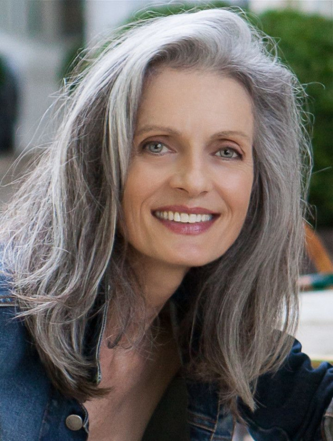 Long Gray Elegance Hairstyles for Women Over 50s
