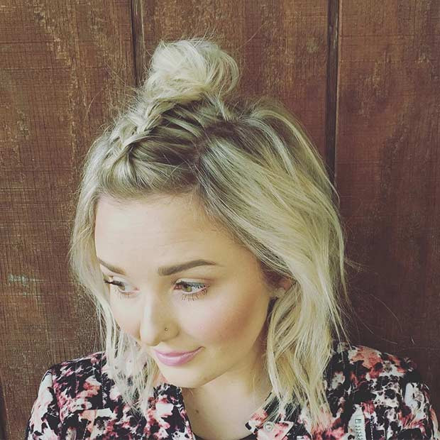 Curly Top-knot Medium Length Hairstyle for Women