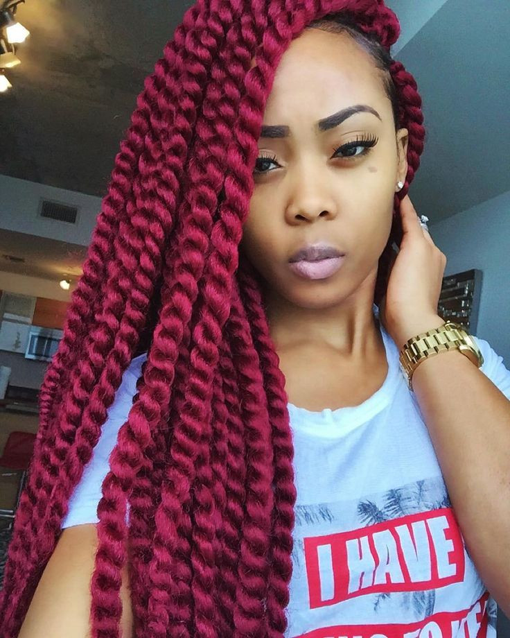 Gorgeous Burgundy Twist Out Hair Crochet Braid Hairstyles for Women