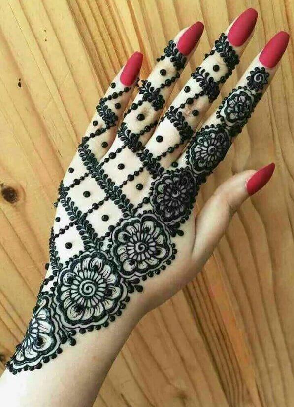 Elegant Bridal back hand Mehndi Design
