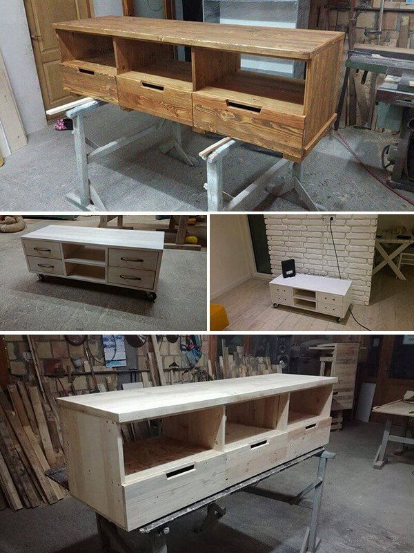 Classic And Crafty Indoor Pallet Rolling Table